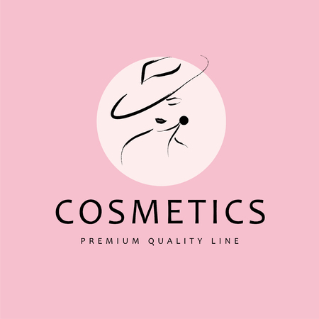 Vector artistic logo with hand drawn lady in hat portrait isolated on white background. Outline drawing. Good for women accessory & cloth boutique, cosmetic shop, girl care salon, fashion store emblem Stockfoto - 101814791