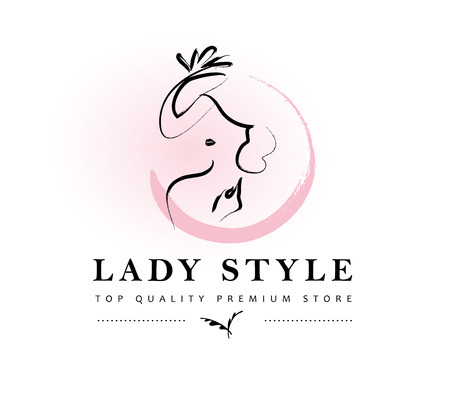 Vector artistic logo with hand drawn lady in hat portrait isolated on white background. Outline drawing.
