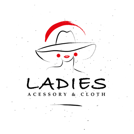 A Vector artistic logo with hand drawn lady in hat portrait isolated on white background.