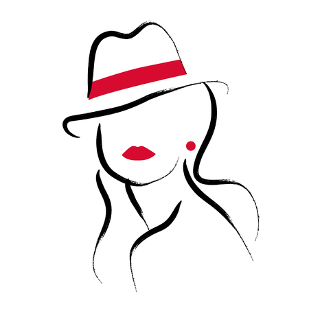A Vector artistic hand drawn stylish young lady portrait isolated on white background.