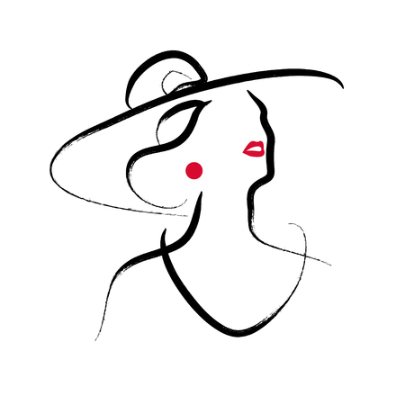 Vector artistic hand drawn stylish young lady portrait isolated on white background. Fashion girl model icon. Woman in hat. Beauty illustration, logo design. Fashion poster, placard, banner. Stock fotó - 97740343