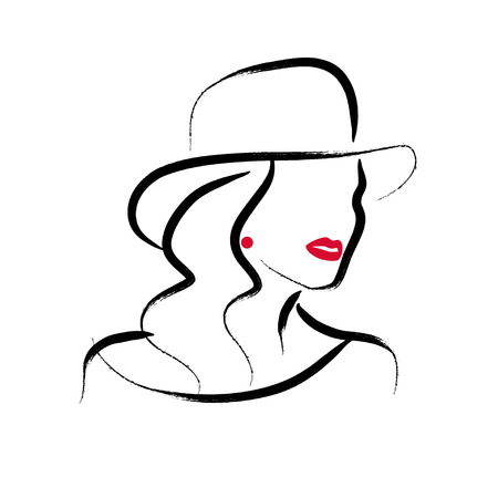 Vector artistic hand drawn stylish young lady portrait isolated on white background. Fashion girl model icon.