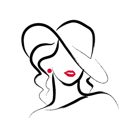 A Vector artistic hand drawn stylish young lady portrait isolated on white background. Standard-Bild - 97781200