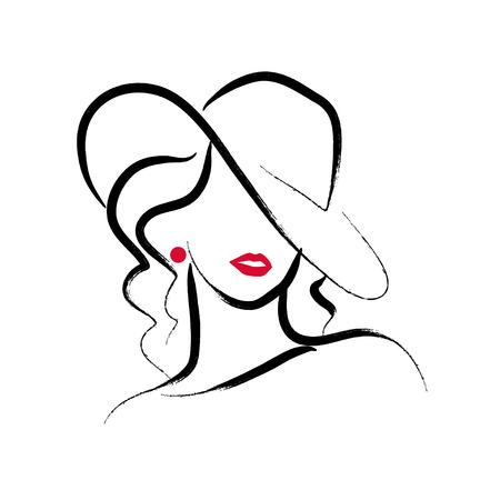 Un ritratto alla moda disegnato a mano artistico della giovane signora di vettore isolato su fondo bianco.