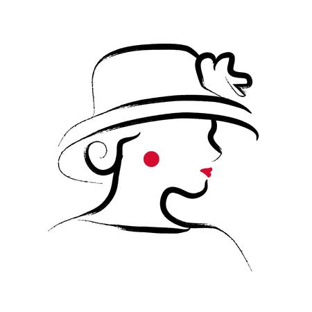 Illustration of a lady portrait isolated on white background. Illustration