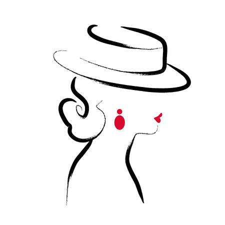 Vector artistic hand drawn illustration of a stylish young lady.