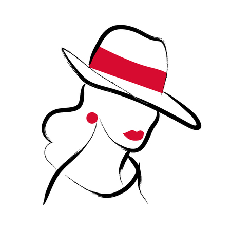 Vector artistic hand drawn stylish young lady portrait isolated on white background. Fashion girl model icon. Woman in hat. Beauty illustration, logo design. Fashion poster, placard, banner.