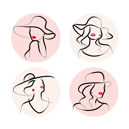 Vector artistic hand drawn stylish young lady portrait set isolated on white background. Fashion Woman model icon in hat. Beauty illustration, logo design. Fashion poster, placard, banner.