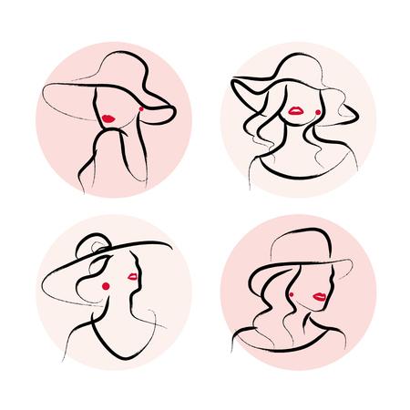 Vector artístico dibujado a mano elegante joven retrato conjunto aislado sobre fondo blanco. Icono de modelo de mujer de moda con sombrero. Ilustración de belleza, diseño de logotipos. Cartel de moda, cartel, pancarta.