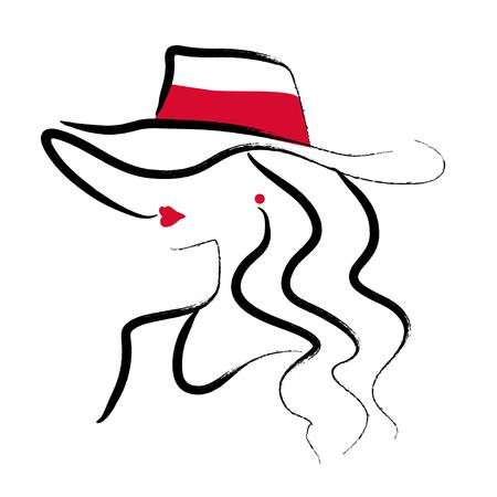 Vector artístico dibujado a mano elegante dama joven retrato aislado sobre fondo blanco. Icono de modelo de chica de moda. Mujer con sombrero. Ilustración de belleza, diseño de logotipos. Cartel de moda, cartel, pancarta. Logos