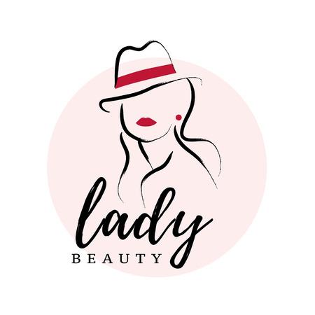 白い背景に隔離された帽子の肖像画に手描きの女性とベクター芸術的なロゴ。アウトライン描画。女性アクセサリー&布ブティック、化粧品店、ガー  イラスト・ベクター素材
