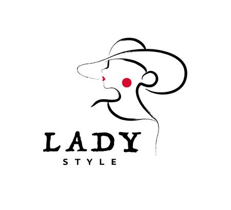 Vector artistiek logo met hand getrokken dame in hoed portret geïsoleerd op een witte achtergrond. Omtrek tekenen. Goed voor damesaccessoires en stoffenboetiek, cosmeticawinkel, meisjeszorgsalon, embleem modezaak