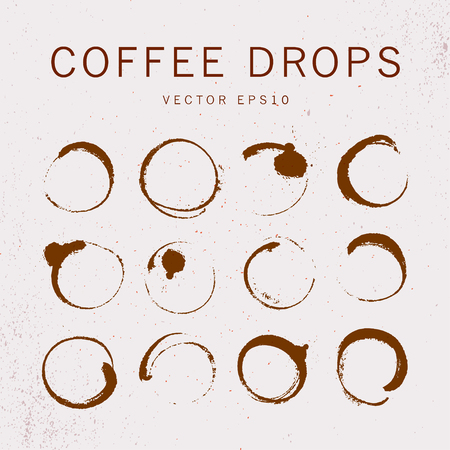 Vector collection of artistic round hand made coffee stains isolated on textured background. Perfect for coffee shop packaging design, emblems, insignia, etc.