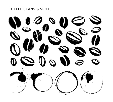Collection of hand drawn coffee design elements isolated on textured background. 向量圖像