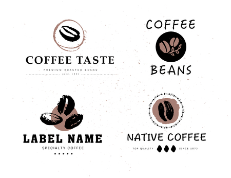 Vector collection of hand drawn coffee  design elements isolated on textured background.