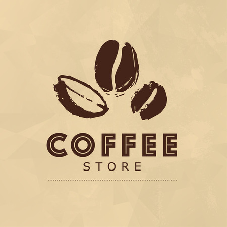 Hand drawn coffee design elements isolated on paper textured background.