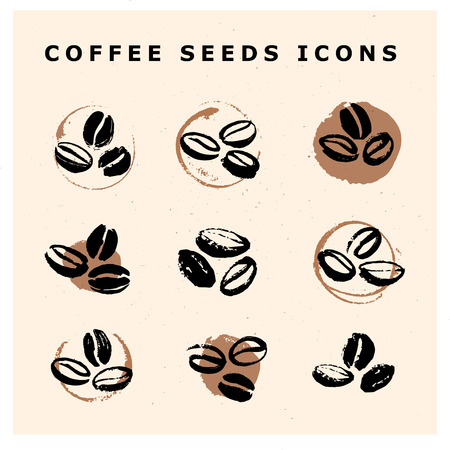 Vector collection of hand drawn coffee beans design elements isolated on textured background. Coffee shop craft emblem, company logo insignia template, banner, print, etc.