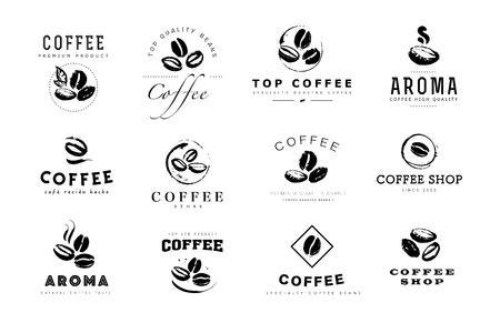 Vector collectie van hand getrokken koffie logo ontwerpelementen geïsoleerd op gestructureerde achtergrond. Coffeeshop ambachtelijke embleem, bedrijf insignia sjabloon, banner, print, etc.