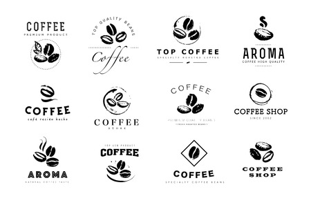 Vector collection of hand drawn coffee logo design elements isolated on textured background. Coffee shop craft emblem, company insignia template, banner, print, etc. Stok Fotoğraf - 98606206