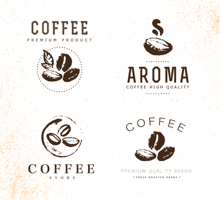 A Vector collection of hand drawn coffee logo design elements isolated on textured background. 向量圖像