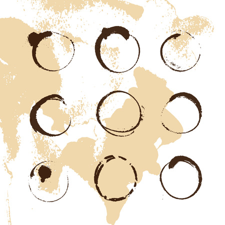 A Vector collection of artistic round hand made coffee stains isolated on textured background.