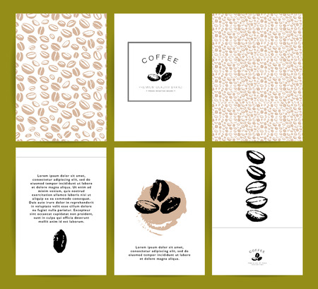 Vector collection of artistic cards with coffee emblems and logo, hand drawn coffee beans and seeds, textures and patterns. Coffee company shop insignia design.