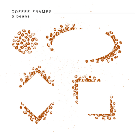 Vector set of hand drawn simple frames made with coffee beans isolated on white background. Ink drawing, stamp  seeds, painting. Perfect for labels, emblems, coffee packaging design. Illustration