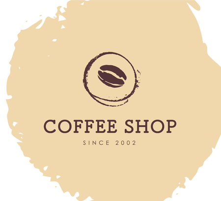 Vector hand drawn coffee logo design elements isolated on textured background. Coffee shop craft emblem, company insignia template, banner, print, etc.