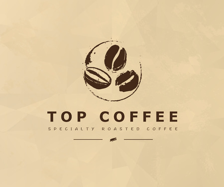 A Vector hand drawn coffee logo design elements isolated on textured background. Coffee shop craft emblem, company insignia template, banner, print, etc. Ilustração