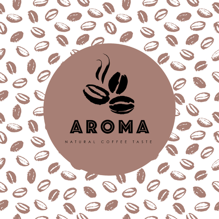 A Vector hand drawn coffee logo design elements isolated on textured background. Coffee shop craft emblem, company insignia template, banner, print, etc. Ilustrace