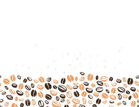 Coffee backdrop design with hand drawn coffee beans isolated on white background vector seamless pattern. Ink drawing, coffee seeds. Packaging design, wallpaper, banner. Vettoriali