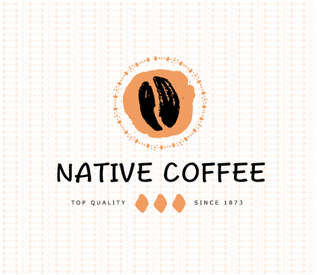 Vector hand drawn coffee icon design elements isolated on textured background. Coffee shop craft emblem, company insignia template, banner, print, etc.