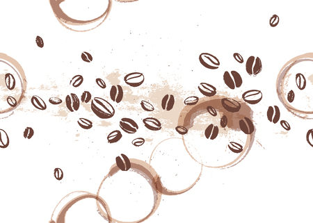 Vector seamless coffee backdrop design with hand drawn coffee beans isolated on white background. Ink drawing, coffee seeds. Packaging design, wallpaper, banner etc. 일러스트