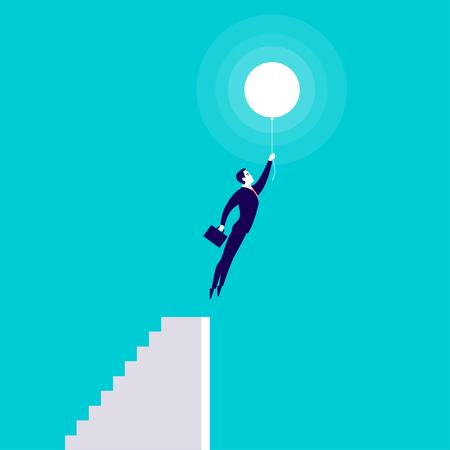 Vector business concept illustration with businessman holding case flying up with air balloon from stairs isolated on blue background. Success, growth, career, solution, idea and perspective metaphor.