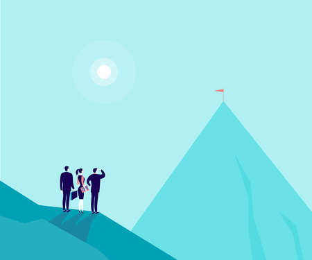 Vector business concept illustration with businessmen, woman standing on mountain pic and watching at new top. Metaphor for growth, new aims and goals, team work and partnership, aspirations, motivation. Illustration