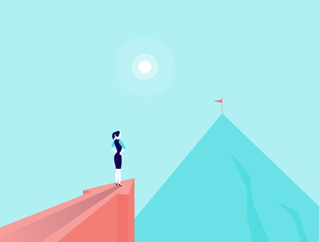 Vector business concept illustration with business lady standing on big arrow pointing on mountain peak. Office woman watching at new top. New aim, goal, purposes, achievements, aspirations - metaphor.