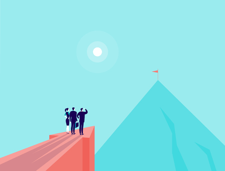 Vector business concept illustration with business people standing on big arrow pointing on mountain peak.