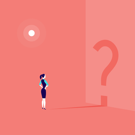 Vector business concept illustration with business lady standing isolated with question sign shadow shape on the wall. Illustration