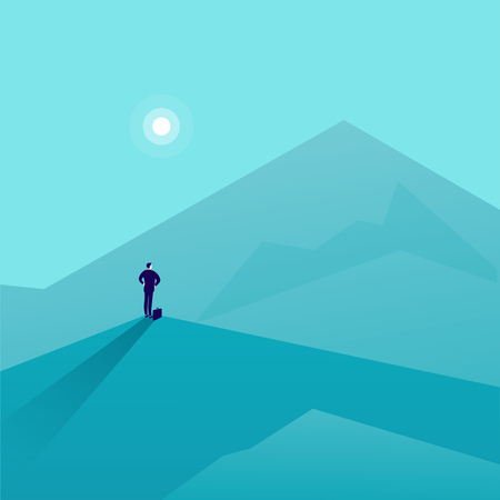 Vector business concept illustration with businessman standing on mountain peak and watching at new top. Metaphor for new aims and goals, purposes, achievements and aspirations, motivation. Illustration
