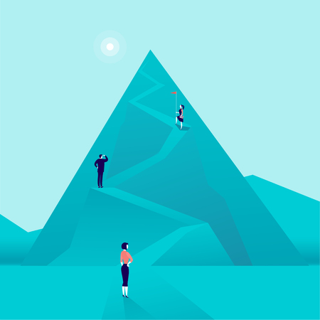 Vector business concept illustration with business people climbing mountain road up. Flat style. Career, lady leadership, growth, new goals, aspirations, women move up, follow your dreams - metaphor.  イラスト・ベクター素材