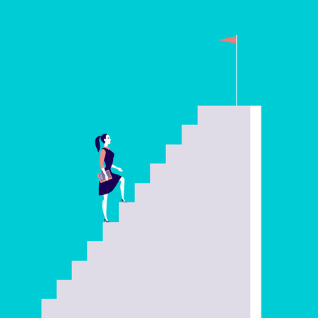 Vector business concept illustration with business lady  walking up the stairs with flag on it isolated on blue background. Career, aspiration, reaching aim, motivation, growth, leadership - metaphor. Ilustracja