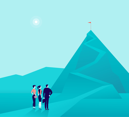 Vector business concept illustration with businessmen, woman standing at mountain pic and watching on top. Metaphor for growth, new aims & goals, team work & partnership, aspirations, motivation.