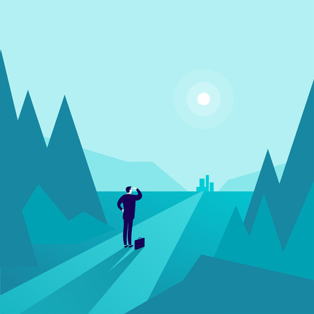 Vector business concept illustration with businessman standing at forest edge and watching on horizon city. Metaphor for new aims, goals, purpose, achievements and aspirations, motivation, overcoming. Illustration