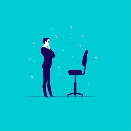 Flat art business illustration with office man standing at blank chair isolated on blue background illustration.