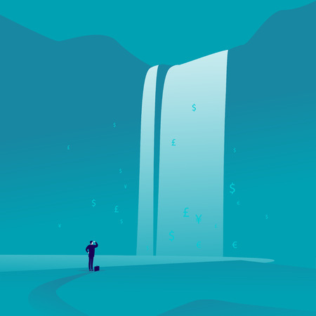 Flat art of businessman standing and watching at big great waterfall with money signs and symbols on blue background illustration.