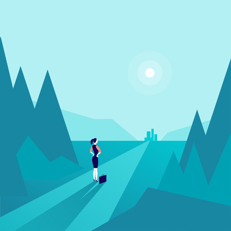 Business lady standing at forest edge and watching on horizon city on blue colored illustration.