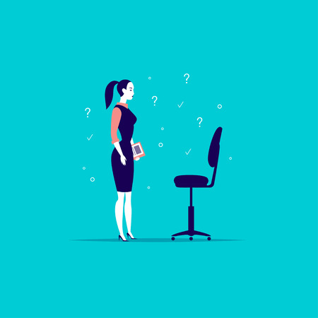 Flat art business illustration with office lady standing at blank chair isolated on blue background illustration. Illustration