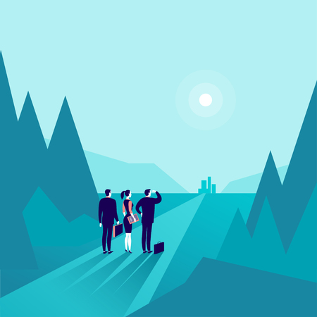 Group of business people standing at forest edge and watching on horizon city on blue colored illustration.