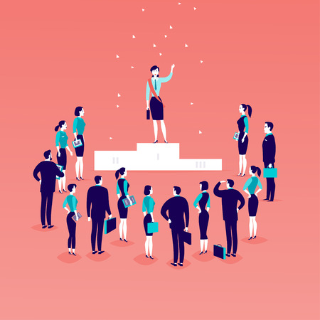 Vector flat illustration with successful business lady standing on podium in front of office people crowd isolated on blue background. Success, respect, achievement, win victory, acceptance - metaphor Banque d'images - 99683329