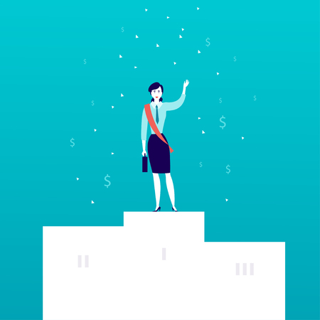 Vector flat illustration with successful business lady standing on white podium with money signs falling down isolated on blue background. Success, achievement, win, victory, wealth - metaphor.